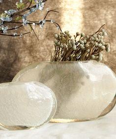 Set of 2 Cracked Crystal Ellipse Hand Sculpted Vases - Vases