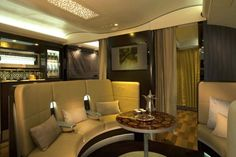 The Etihad A380 first and business class lounge.