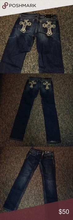 Miss Me Jeans with Cross Details Great condition Miss Me jeans with cross details. Only worn a couple times, look fantastic! They don't fit me anymore but look phenomenal on if they fit, I used to get compliments all the time! :) Size 30. Miss Me Jeans Skinny