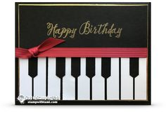 CARD For today's how-to video, I'm sharing this elegant piano card. It is surprisingly easy to create, and super cool for the music lover in your life. I used the Stampin Up Feather Together stamp set for the Happy Birthday greeting. But you can switch this.    Declan and Bob's card