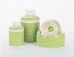 Green Trellis Bowls & Treat Jars Collection