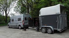 Camper van and horse trailer.