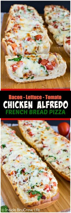 BLT Chicken Alfredo French Bread Pizza - this easy pizza is loaded with meat, veggies, and cheese. Awesome dinner recipe for busy nights! Food Recipes For Dinner, Food Recipes Keto I Love Food, Good Food, Yummy Food, Tasty, Healthy Food, Comida Diy, French Bread Pizza, French Bread Recipes, Chicken Recipes