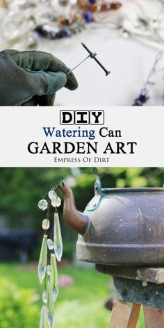 Take old leaky watering cans and kettles and turn them into shabby chic garden art! Easy tutorial for creating faux water with crystals and beads. #sponsored