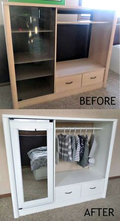 DIY - Entertainment Center Turned Into Kids Closet Armoire (Furniture Makeover) . - mct DIY - Entertainment Center Turned Into Kids Closet Armoire (Furniture Makeover) . Furniture Projects, Furniture Making, Home Projects, Furniture Design, Furniture Stores, Outdoor Furniture, Cheap Furniture, Furniture Plans, Modular Furniture