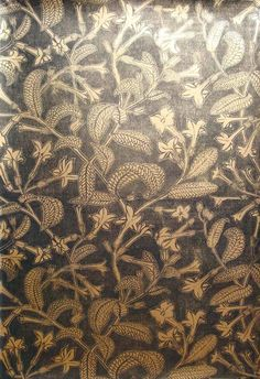 Tabacco Plant (black on gold) Hand printed linocut wallpaper by Marthe Armitage