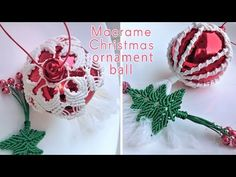In the macrame tutorial, I'll show you how to make a macrame Christmas ornament ball cover. Christmas Ball Ornaments Diy, Christmas Craft Fair, Beaded Ornaments, Diy Christmas Gifts, Christmas Decorations To Make, Holiday Crafts, Christmas Cover, Christmas Ideas, Macrame Design