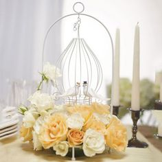 Ornamental Love Bird Wire Centerpiece wedding party table decoration