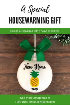 New Home Ornament, Real Estate Closing Gifts for Buyers, New Home Christmas Ornament, Housewarming gift ideas White Ornaments, Christmas Ornaments, Christmas Ideas, Personalized Gifts, Handmade Gifts, Handmade Items, Unique Gifts, Pineapple Design, Confirmation Gifts
