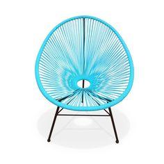 Ensemble de 2 fauteuils Acapulco chaise oeuf design rétro cordage Turquoise ALICE S GARDEN
