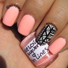pretty neon coral nails
