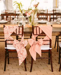 Unique way to tie chair ties. Coral and White Chair Ties // photo: Amanda Forbes photography // Wedding Chair Decorations, Wedding Chairs, Wedding Reception, Wedding Ideas, Wedding Poses, Reception Ideas, Trendy Wedding, Wedding Pictures, Wedding Details