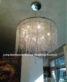sospensione diametro80 cm n.3 giri di strass ottagoni da 14 mm con n.9 luci led