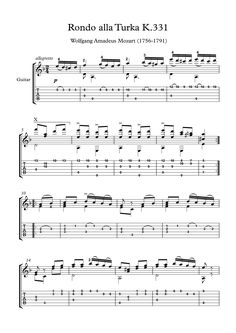 Mozart Rondo K.331 guitar solo sheet music Movement Three - Rondo Alla Turca from Piano Sonata No. 11 in A major by Wolfgang Amadeus Mozart, arranged for classical guitar solo, with tablature, with downloadable mp3 for audio help