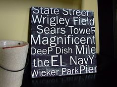 Chicago City Sights in Black  12x12 CAFE MOUNT by redletterwords, $44.00