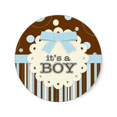It's a Boy All in Blue Stitches and Bow Baby Shower Sticker