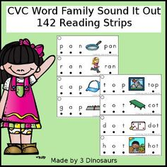 3 Dinosaurs - CVC Word Family Sound It Out Word Family Activities, Cvc Word Families, First Grade Activities, Language Activities, Reading Activities, Teaching Reading, Kids Reading, Literacy Activities, Learning