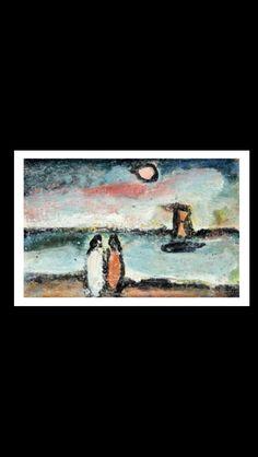 Georges Rouault - Deux silhouettes et voilier sous le soleil - Huile sur carton marouflé sur toile - 15,5 x 23,5 cm