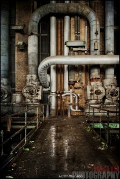 Pipes in abandoned Belgian powerplant Abandoned Buildings, Abandoned Places, Abandoned Factory, Industrial Machinery, Industrial Architecture, Old Factory, Industrial Photography, Fantasy Places, City Landscape