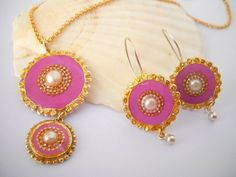 Pink jewelry set, Sterling silver pendant necklace and earrings, Gold Pink necklace & earrings inlaid with a pearl, BOHO  2014 on Etsy, $142.00