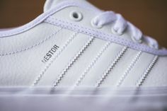 "Joining the latest wave of ""All White"" footwear designs is the new adi-Ease Nestor from adidas Skateboarding. Signature shoe for Bay Area skater Nestor Best Sneakers, Sneakers Fashion, White Shoes, White Sneakers, All White, Ladies Dress Design, Adidas Shoes, Designer Shoes, Louis Vuitton"