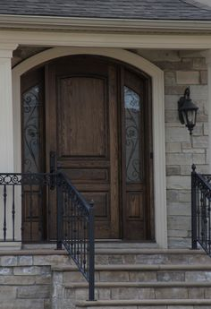 Solid Wood Front Door with accent side panels.
