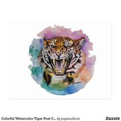 Colorful Watercolor Tiger Post Card Christmas Card Holders, Christmas Cards, Watercolor Tiger, Post Card, Original Artwork, Great Gifts, Colorful, Pop, Studio