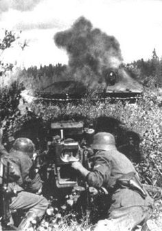 A German Pak-40 engages a T-34 in close quarters in the forests outside Leningrad, 1942