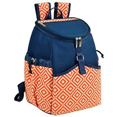 Picnic at Ascot Diamond Collection Cooler Backpack, Orange/Navy >>> You can get more details by clicking on the image.
