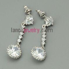 Delicate drop earrings with zirconia decoration