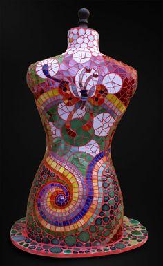 Buste réalisé en pate de verre et verre spectrum - Stéphanie Chatelet 2009
