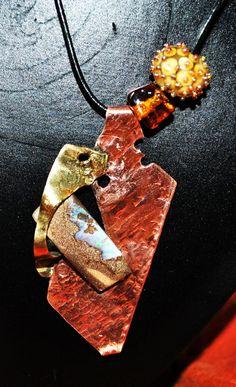 """Collier de créateur opale , métaux """" L essence du ciel """""""