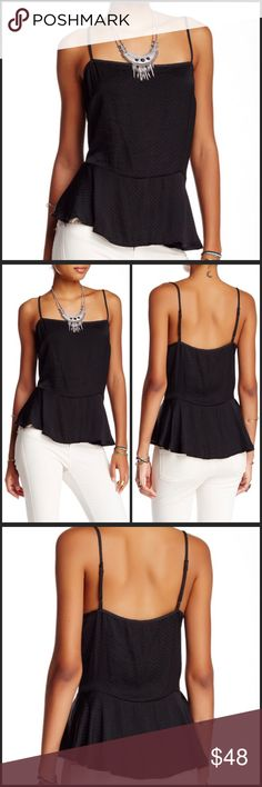 "Free People Dobby Tank Free people dobby tank size large. Square neck, Sleeveless, Adjustable spaghetti straps, Peplum hem in black. - Approx. 27"" length - Imported Fiber Content: 100% polyester Care: Hand wash cold Additional Info: Fit: this style fits true to size. Free People Tops Tank Tops"
