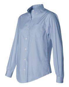 Van Heusen Ladies' Long-Sleeve Blended Pinpoint XX-Large Blue -- More info @