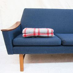 This awesome blue mid-century sofa has a really fantastic curved arm. Take A Seat, Love Seat, Mid Century Sofa, Blue Wool, Cozy House, Mid-century Modern, Couch, Pillows, Retro