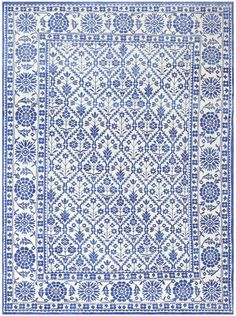 Charming Blue and White Vintage Indian Agra Cotton Rug 48300 Main Image - By Nazmiyal