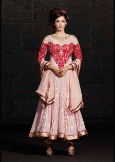 Buy Bollywood Light Pink Anarkali Salwar Kameez US$ 111.39 . Buy online - bollywood-ankle-length-anarkali.blogspot.co.uk/2014/04/buy-bollywood-light-pink-anarkali.html
