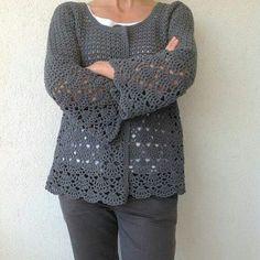 Women Crochet Cardigan/Gray Cr |