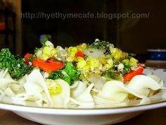 Hye Thyme Cafe: Kale Egg Noodles with Candied Corn Garnish