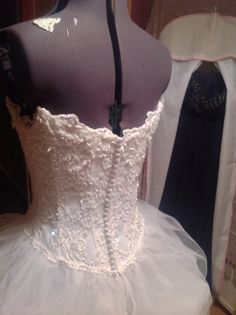Lace and tulle detail on bridal gown