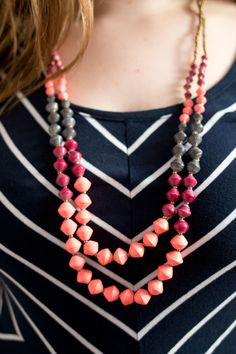 31 Bits Mediterranean Beaded Necklace in Coral - Stitch Fix June 2015 Review & Styling