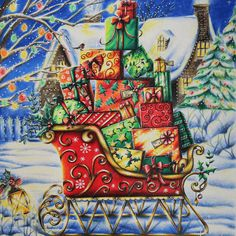 Take a peek at this great artwork on Johanna Basford's Colouring Gallery! Magical Christmas, Christmas Books, Christmas Images, Christmas Fun, Vintage Christmas, Colouring Pages, Coloring Books, Adult Coloring, Coloring Stuff