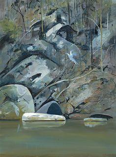 "thunderstruck9: ""Arthur Boyd (Australian, 1920-1999), Upturned boat on Budgong Creek, c.1982. Oil on composition board, 60.5 x 44.5 cm. """
