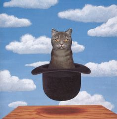 """CAT IN A HAT by Rene Magritte: """"It is not my intention to make anything comprehensible."""""""