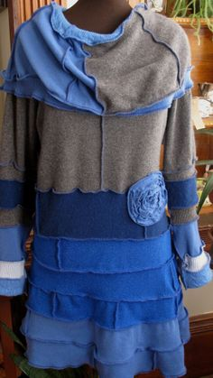 Reconstructed Cowl Pullover Tunic  Boho Sweater by thepainteddaisy, $85.00