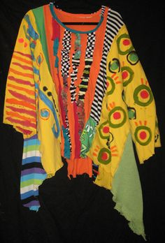 Tangerine Ruched Over sized Tunic Hand painted by monapaints, $269.00