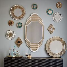 Peruvian artisans hand-carve these mirrors using a centuries-old technique once used to make religious sculptures. Inspired by the elaborate designs found in traditional colonial-style homes in Peru, they instantly dress up any wall space. Mirror Gallery Wall, Mirror Collage, Mirror Mirror, Mirror House, Mirror Glass, Wall Mirrors Metal, Small Mirrors, Metal Frames, Bathroom Mirrors