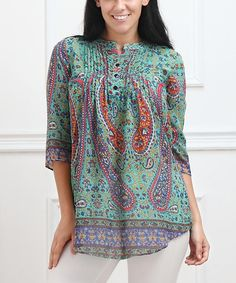 This Aqua & Orange Paisley Notch Neck Tunic - Plus is perfect! #zulilyfinds