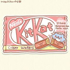Kit Kat is a chocolate-covered wafer bar from the UK and it's one of my favorite chocolate snacks! Since there are many Japanesey flavors,… Cute Food Drawings, Cute Kawaii Drawings, Kawaii Doodles, Cute Doodles, Easy Drawings, Kawaii Wallpaper, Wallpaper Iphone Cute, Aesthetic Iphone Wallpaper, Cute Wallpapers