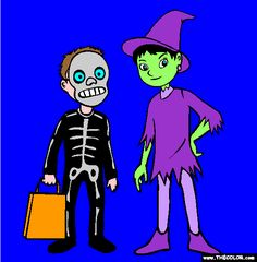halloween trick or treat costumes coloring page